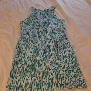 Jude Connally white & Turquoise halter dress M